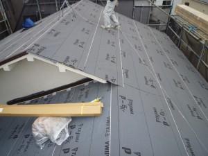 施工中 防水紙施工