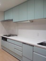 鮮やかな水色のキッチン LIXIL リシェルSIにお取替え