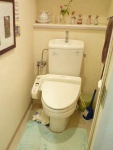 ブルーの壁紙で爽やかなトイレに