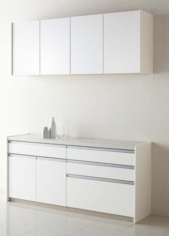 ■1段引き出しタイプ キッチン小物を効率よく収納可能。開き戸の棚に背の高いボトルなど入れることができます。 ■家電収納庫引き出しタイプ 家電をまとめて置ける収納庫です。蒸気排出機能により、スライド台を引き出さなくても家電を使用できます。 ■3段引き出しタイプ ハサミなどのキッチン小物や平皿などを効率よく収納できます。 ■家電収納オープンタイプ 下段が引き出しではなく、オープンスペースになっていて、ゴミ箱が入るワゴンを置くこともできます。