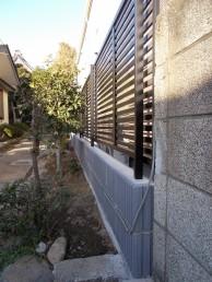 台風で壊れてしまった万年塀をフェンスにお取替え