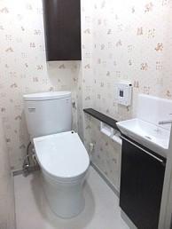 コンパクトで使いやすい手洗器と節水トイレに交換